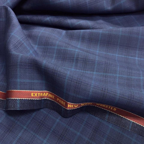Blue With Light/Dark Blue Overcheck Onyx Super 100's Luxury Jacketing And Suiting's