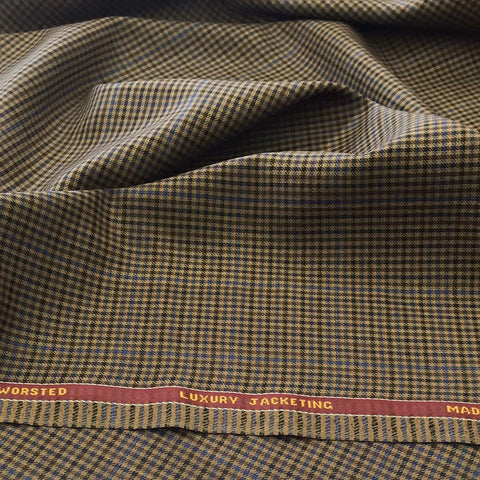 Gun Club Brown With Blue Overcheck Onyx Super 100's Luxury Jacketing And Suiting's