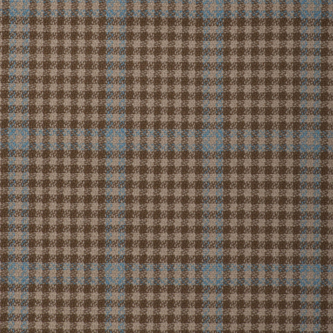 Light Brown/Sand With Aqua Check Onyx Super 100's Luxury Jacketing And Suiting's