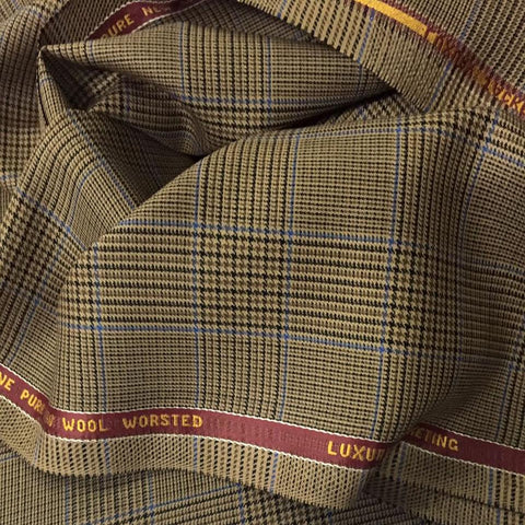 Light Brown With Blue Check Onyx Super 100's Luxury Jacketing And Suiting's