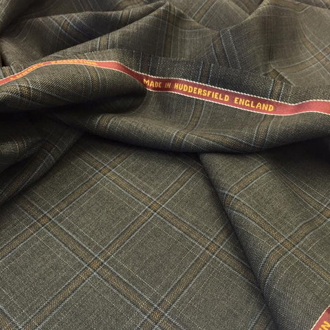 Dark Grey With Rust And Blue Check Onyx Super 100's Luxury Jacketing And Suiting's