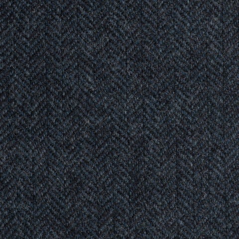 Dark Blue And Black Herringbone Coral Tweed All Wool