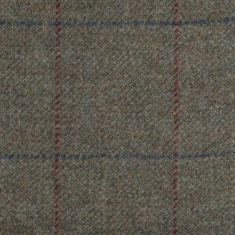Green With Red And Blue Check Moonstone Tweed All Wool