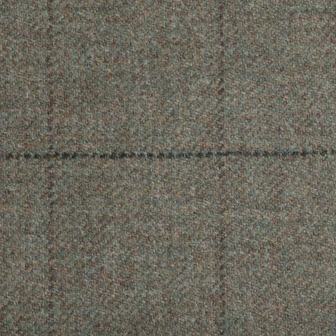 Green With Brown And Dark Green Check Moonstone Tweed All Wool