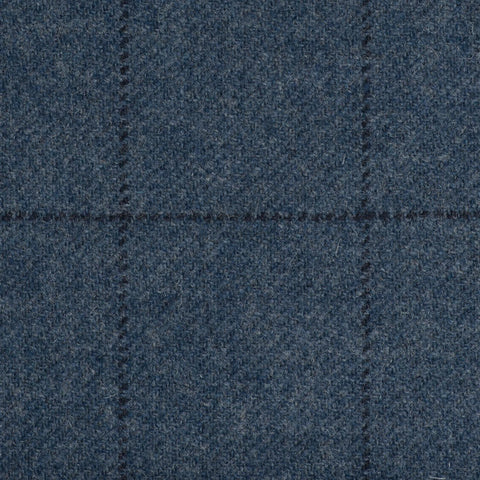 Blue With Dark Navy Check Check Moonstone Tweed All Wool
