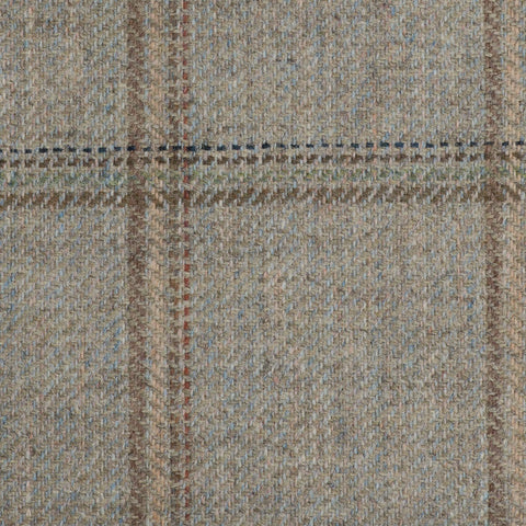Light Green With Crème/Brown/Navy Estate Check Moonstone Tweed All Wool