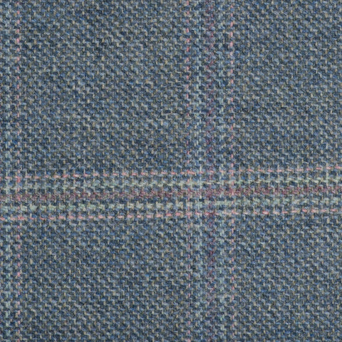 Grey And Blue With Pink/Purple/Green Check Moonstone Tweed All Wool
