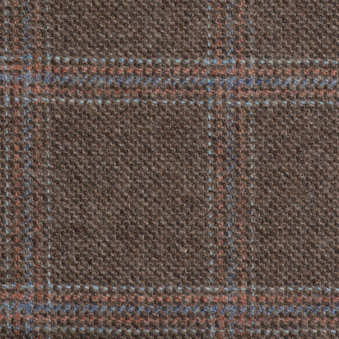 Brown With Orange And Blue Check Moonstone Tweed All Wool