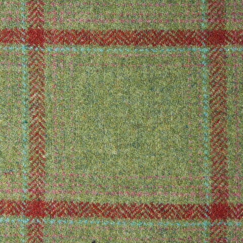 Green With Red/Pink/Blue Check Moonstone Tweed All Wool