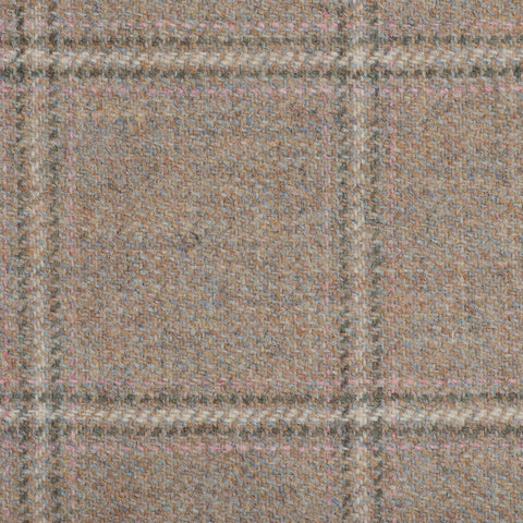 Light Fawn With Crème/Pink/Green Check Moonstone Tweed All Wool