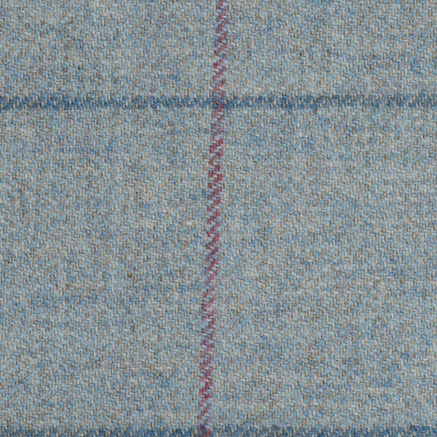 Blue/Grey With Red And Navy Check Moonstone Tweed All Wool