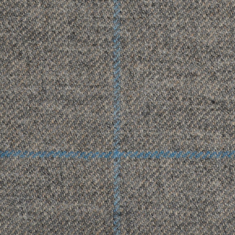 Grey/Crème With Blue And Aqua Check Moonstone Tweed All Wool