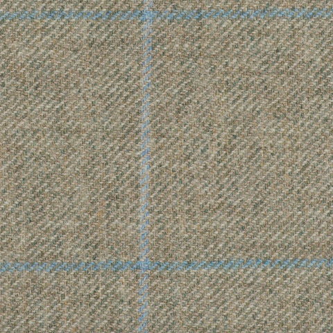 Light Green With Blue And Aqua Check Moonstone Tweed All Wool