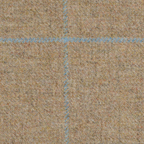 Light Brown With Blue And Aqua Check Moonstone Tweed All Wool