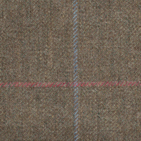 Brown/green With Pink And Aqua Check Moonstone Tweed All Wool