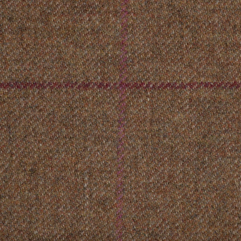 Medium Brown With Maroon And Pink Check Moonstone Tweed All Wool