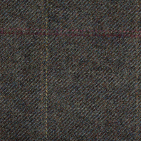 Murky Green With Rust/Gold/Pink/Red Check Moonstone Tweed All Wool