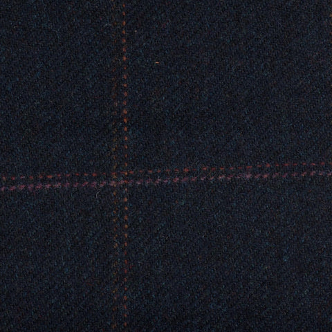 Dark Navy With Red/Pink/Gold Check Moonstone Tweed All Wool