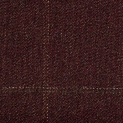 Burgundy With Green/Gold/Silver Check Moonstone Tweed All Wool