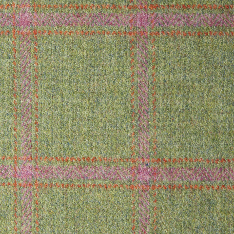 Green With Pink And Orange Check Moonstone Tweed All Wool