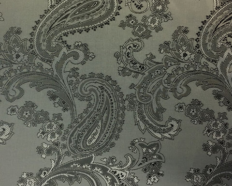 Silver And Black Paisley Lining 50% Viscose 50% Acetate