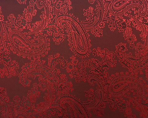 Dark Red And Black Paisley Lining 50% Viscose 50% Acetate