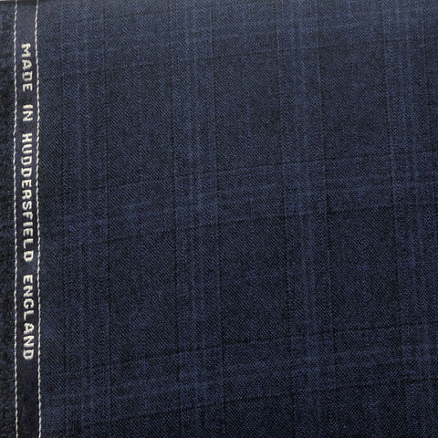 Navy With Black Purple Check Flannel Suiting Jacketing