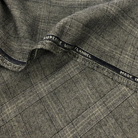 Black/Grey With Lilac Check Flannel Suiting Jacketing