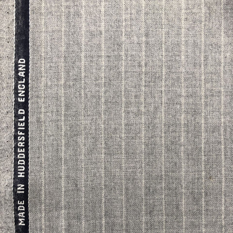 Light Grey Chalk Stripe Flannel Suiting Jacketing