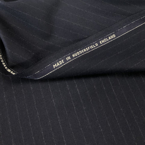 Navy Chalk Stripe Flannel Suiting Jacketing