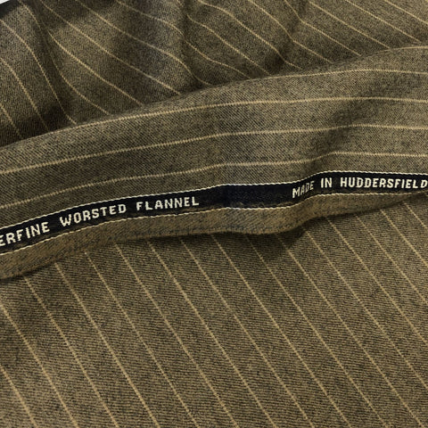 Fawn Chalk Stripe Flannel Suiting Jacketing