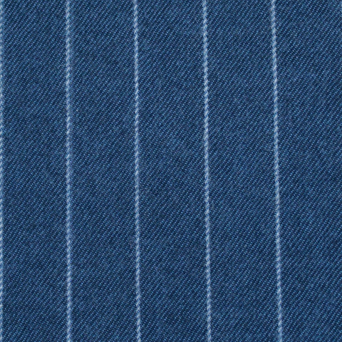 Blue Chalk Stripe 100% Merino Flannel Suiting