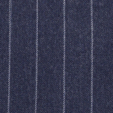 Navy Chalk Stripe 100% Merino Flannel Suiting