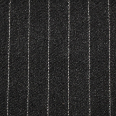 Dark Grey Chalk Stripe 100% Merino Flannel Suiting