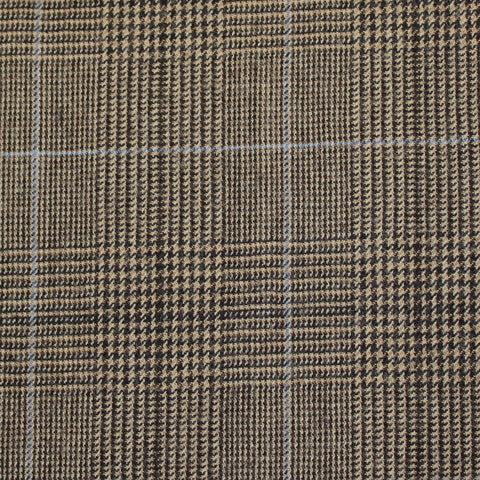 Light Brown And Black With Blue Overcheck Super 110's Flannel Suiting