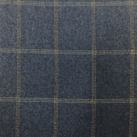 Blue Twill With Gold Check Flannel Suiting