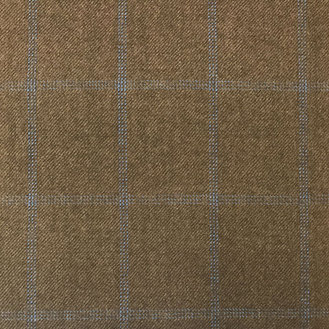 Brown Twill With Blue Check Flannel Suiting