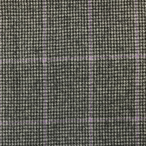 Black/Grey Dogtooth With Purple Check Flannel Suiting