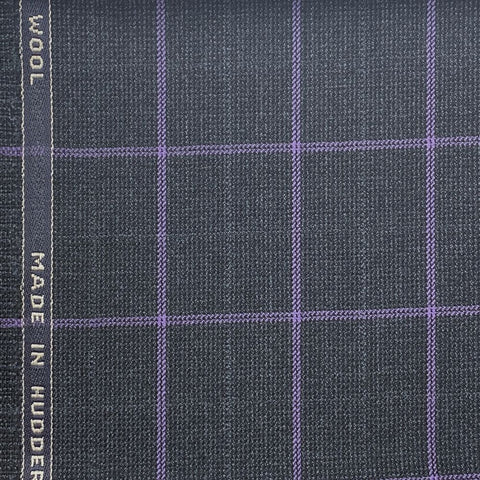Dark Charcoal With Purple Check