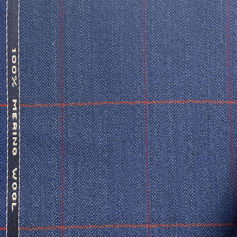Blue Herringbone With Rose/Red Check