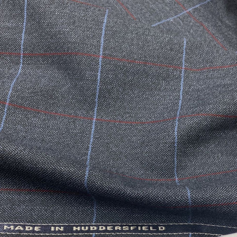 Grey/Blue Herringbone With Blue/Red Check