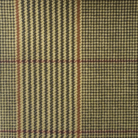 Dark Creme, Black, Magenta And Amber Glen Check Country Tweed Jacketing