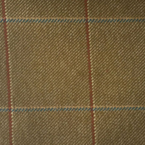 Beige With Blue, Cream And Rust Check Country Tweed Jacketing