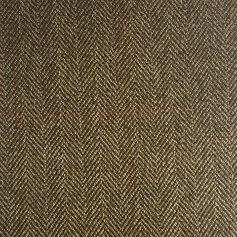 Brown And Green Herringbone With Red And Amber Check Country Tweed Jacketing
