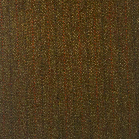 Dark Green And Brown With Orange And Black Stripe Country Tweed Jacketing