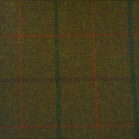 Dark Green With Brown, Green And Orange Check Country Tweed Jacketing
