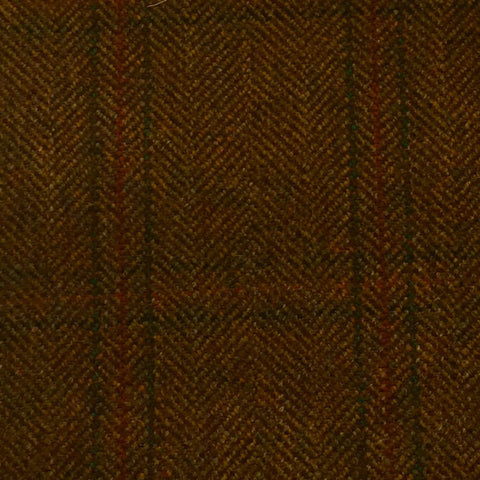 Brown And Fawn Herringbone With Green And Rust Check Country Tweed Jacketing
