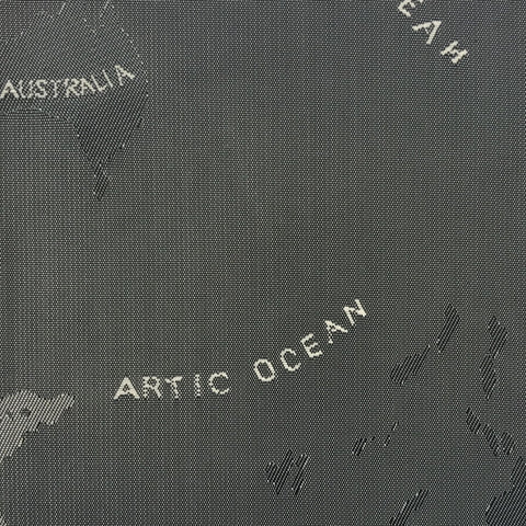Grey & Sliver Woven Global / World / Atlas Map Lining