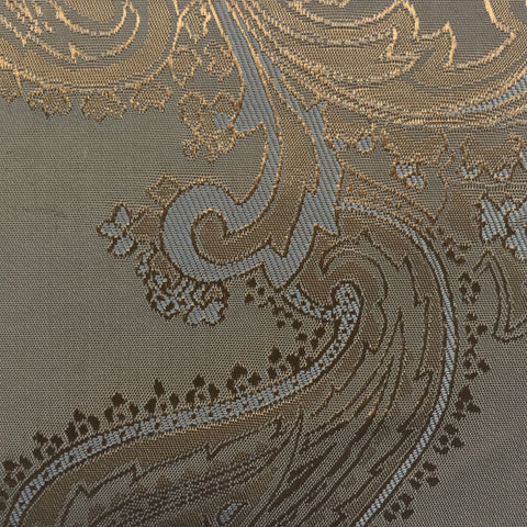 Gold with Lilac Jacquard Woven Paisley design Lining