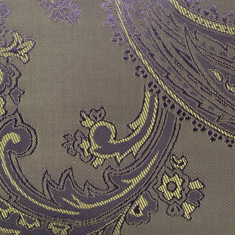 Purple with Gold Jacquard Woven Paisley design Lining